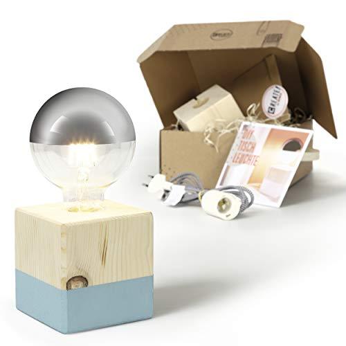 CREATE! by OBI DIY Tischleuchte, klein | Dekorative Tischlampe aus Holz zum Selberbauen inkl. LED-Leuchtmittel Warmweiß E27 (HINWEIS: Farbe im Set nicht enthalten) [Energieklasse A+]