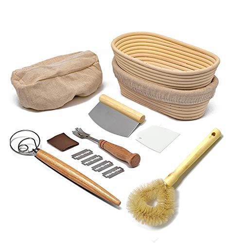 HEYPORK Oval Bread Proofing Basket with Full Bread Baking Accessories, Brotform Sourdough Proving Basket with Cloth Linen Liner, Lame, Dough Scraper, Brush set, Whisk, Banneton Basket for Home Baker