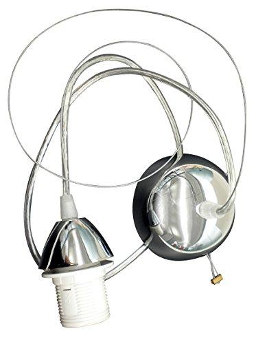 Tibelec 771940 Suspension ChromÃe Fil MÃtal E27 ArgentÃ, Plastique/Métal