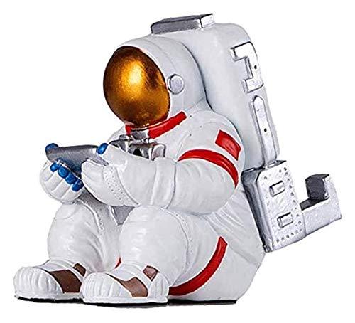 Desktop-Skulptur Astronauten Sitzen Statue Harz Handwerk Modell Kunst Bildhauer Home iPad Halter Universal Mobiltelefon Stand Desktop Dekoration Geburtstagsgeschenk Figuren
