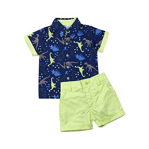 Baby Jungen Kurzarm Hemd + Kurze Hosen Set Gentleman Suit Anzug T-Shirt Shorts Taufe Festlich Hochzeit Outfit 1-6 Jahre Junge Kinder Sommer Bekleidung Set (Blauer Dinosaurier, 2-3 Jahre)