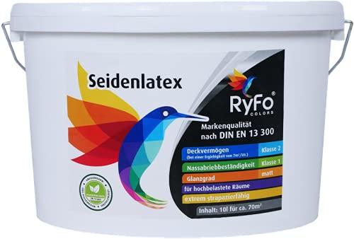 RyFo Colors Seidenlatex 10l (Größe wählbar) - hochwertige zertifizierte Profi Wandfarbe, seidenmatte Innen-Dispersion, Latexfarbe, weiß, scheuerbeständig, Nassabriebklasse 1, lösemittelfrei