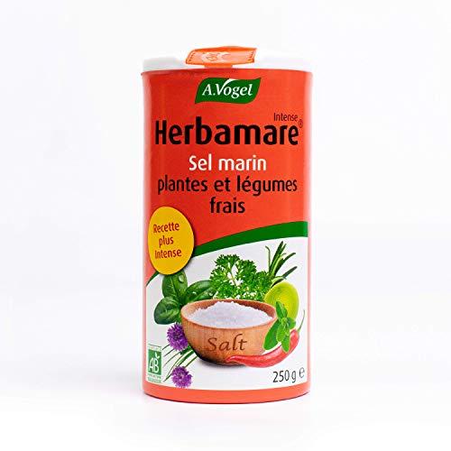 A. VOGEL - Herbamare® Intense - Sel marin, plantes et légumes frais - Assaisonnement sain et bio - Goût Intense et Corsé - Vegan - 250 g - Fabriqué en France, à Colmar (Alsace).