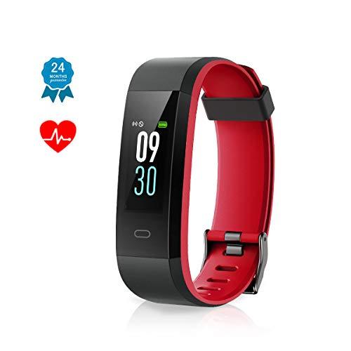 Muzili Fitness Armband IP68 Wasserdicht Fitness Tracker Sport Uhr Fitness Armbanduhr Aktivitätstracker schrittzähler Smart Armbanduhr Pulsuhren Smart Watch für Kinder Frauen und Männer(Black+Red)