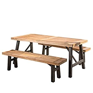 "Includes two (2) Benches, one (1) table Bench dimensions: 14. 25""D x 63. 00""W x 17. 75""H table dimensions: 35. 00""D x 70. 50""W x 29. 25""H Color: Natural Grain Easy to assemble This Arlington dining Set is perfect for your rustic themed home (or any h..."
