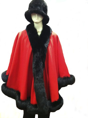 Cashmere Cape with Fox Fur trimming from Cashmere Pashmina Group (Red with Black trim)