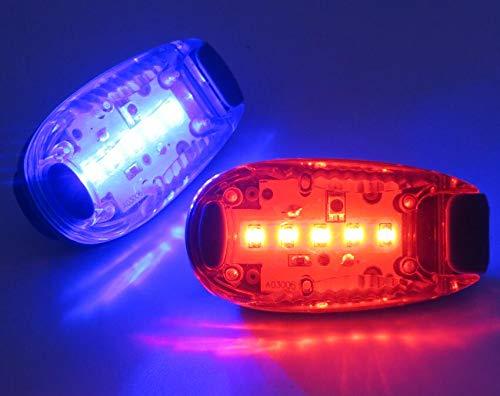 2 LED-lichtarmbanden, LED-lamp voor's Nachts Hardlopen, LED-hondenriem-signaalclip, LED-lichtclip Voor Hondenuitlaten, LED-lamp met Handriem, Krachtig Extern Knipperlicht. (Rood en Blauw)