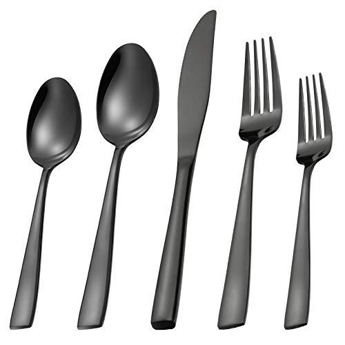 MEJAJU Black Silverware Set for 4, 20 Piece Flatware Set Stainless Steel Eating Utensils, Mirror Polished Cutlery Set with Titanium Black Plated for Home Kitchen Hotel Wedding, Dishwasher safe