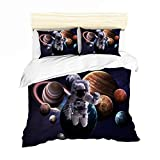 URLINENS Space Astronaut Duvet Cover Set for Boys Girls Twin 3 Piece, 3D Printed Astronaut Leaving the Earth into Outer Space with 9 Planets Image, Decorative Bedding Set with 2 Pillowcase, Blue Brown