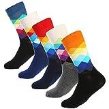 BONANGEL Calcetines Estampados Hombre, Hombres Ocasionales Calcetines Divertidos Impresos de Algodón de Pintura Famosa de Arte Calcetines, Calcetines de Colores de moda (5 Pares-Diamond)