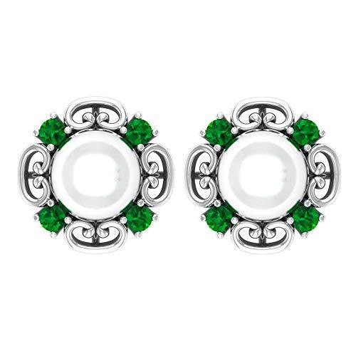 Pendientes de oro grabado vintage de 6,32 quilates con halo de perlas esmeraldas, color verde envejecido, piedra natal de mayo, solitario, perla de novia, pendientes de boda, tornillo hacia at