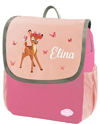 Mein Zwergenland Kindergartenrucksack Happy Knirps Next mit Name REH mit Schmetterlinge, 6L, Pink