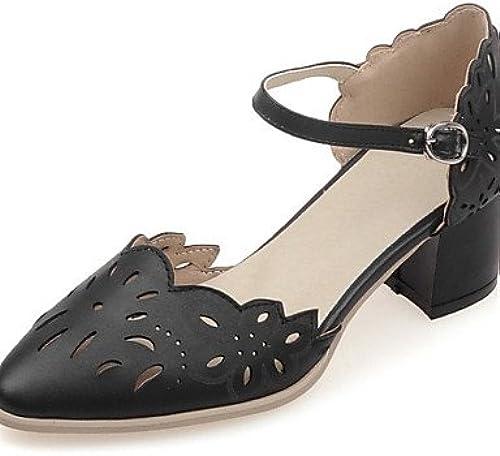 BGYHU Ggx femme Chaussures en similicuir Chunky Talon talons talons Mariage fête & Soir robe décontracté Noir rose blanc