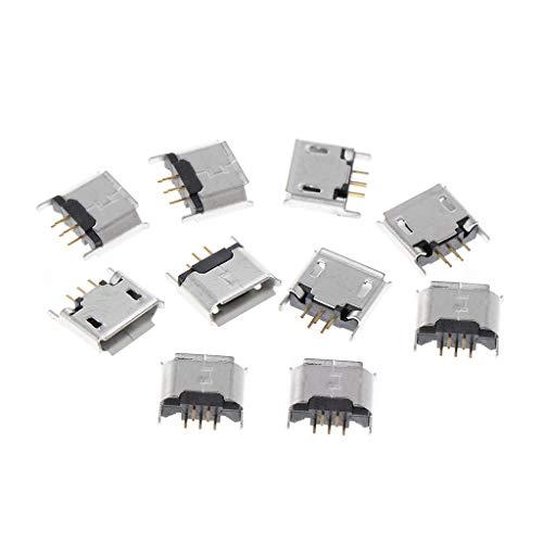 JOYKK 10 Stück Micro USB Typ B Buchse 180 Grad 5-Pin SMD SMT Lötbuchse - Silber Ton