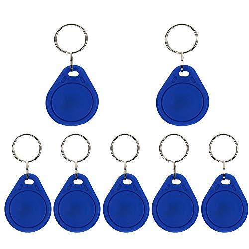 AMAO 13.56MHz 50 x RFID Chip Transponder Schlüssel-Anhänger NFC Token Tags MF 1k Proximity Chipschlüssel Schlüsselring Zutrittskontrolle keyfob, Farbe Blau