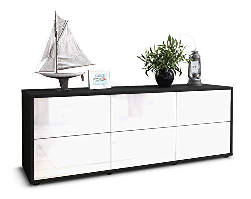 Stil.Zeit TV Schrank Lowboard Remus, Korpus in anthrazit matt/Front im Hochglanz Design Weiß (135x49x35cm), mit Push to Open Technik und hochwertigen Leichtlaufschienen, Made in Germany