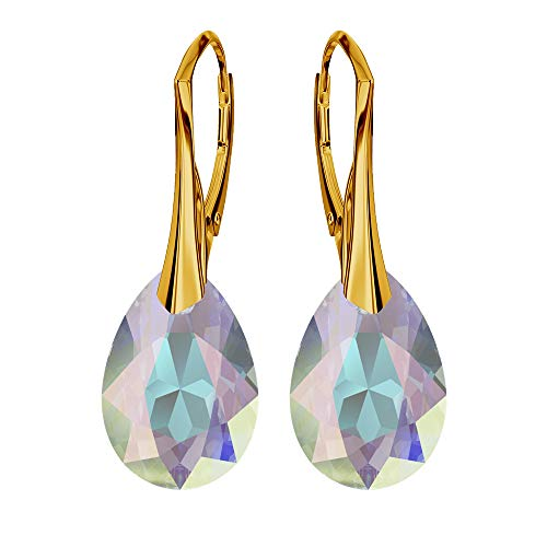 Gold-plated 24 carat 925 sterling silver earrings with crystals from Swarovski - pear, crystal AB - earrings for women - beautiful jewellery for women with gift box