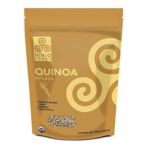 Vivio Foods Quinoa Orgánica Inflada, Quinoa, 100 gramos