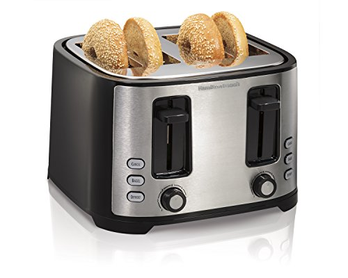 Hamilton Beach Extra Wide Slot Toaster with Defrost and Bagel Functions Shade Selector, Toast Boost, Auto-Shutoff and Cancel Button, 4 Slices, Black