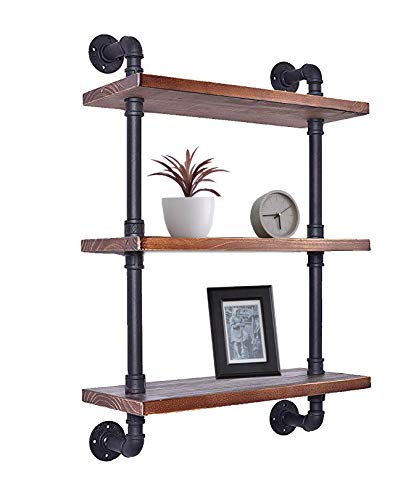Industrial Retro Wall Mounted Iron Water Pipe Shelf - Hung Bracket - DIY Storage Shelving Bookshelf - Wood Shelf (24