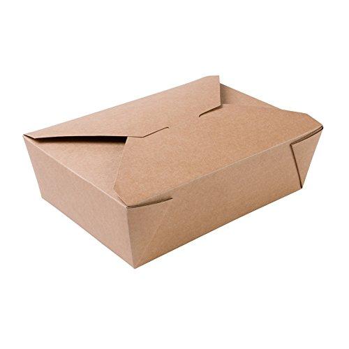 BIOZOYG Speise Box Take Away I Bio Speisebox mit Faltdeckel 1500 ml I Pappschachtel rechteckig I braune Kraftkarton Schachtel kompostierbar I Einweg to Go Boxen 180 Stück