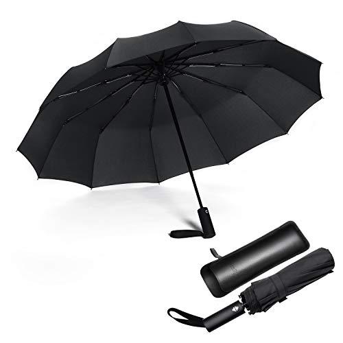 JIGUOOR Travel Umbrella, 12 Ribs Auto Open/Close Teflon Windproof Folding Umbrellas for Women Men