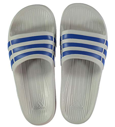 adidas Boys Kids Junior Duramo Slide Open Toe Sandals Flip Flop Grey Blue Size 4 UK EU 36