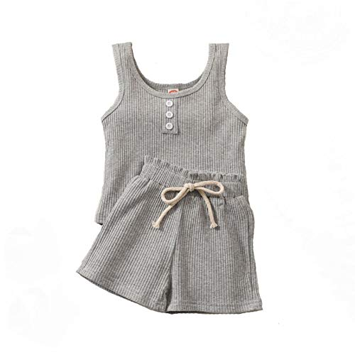 MCH Toddler Baby Girl Ribbed Outfits Kids Sleeveless Vest Top+Drawstring Elastic Waist Shorts Pants 2Pcs Summer Clothes (Grey,5-6 Years)