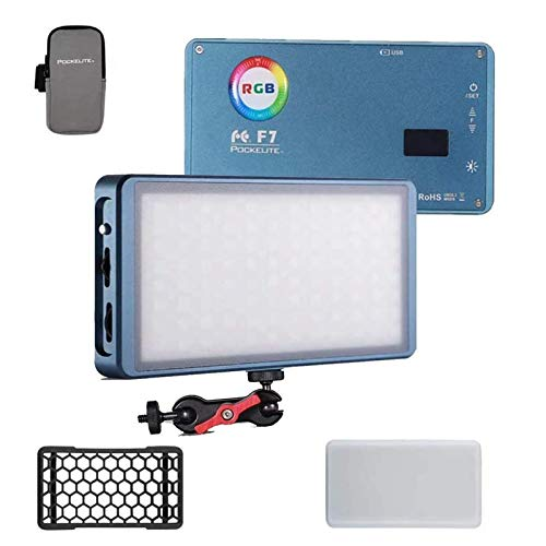 Falcon Eyes F7 12W RGB LED Mini-Tasche auf Video Kameralicht 2500K-9000K Bicolor mit Magnetadsorptionsfunktion für Video/Foto/Produktfotografie (RGB Light with Softbox)