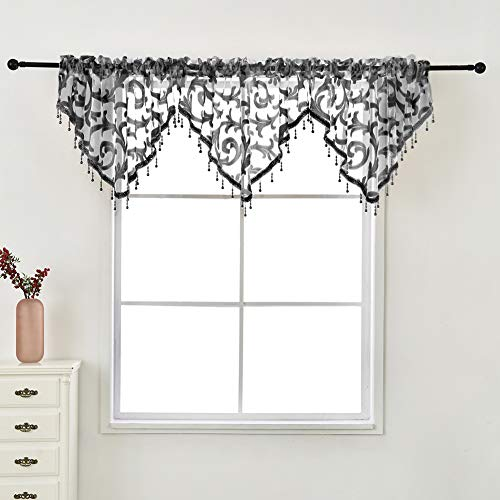 NAPEARL Kitchen Window Valance with Crystal Beads, Elegant Jacquard Swags for Decorating, Waterfall Valance for Small Window, Bathroom, 1 Sheer Valance ( 50 x 24 Inch, Black )