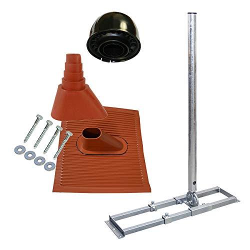 PremiumX Profi X100-48K SAT Dach-Sparren-Halter mit Kabeldurchführung für Satelliten-Antenne Satellitenschüssel | Komplett Set für die Dachinstallation