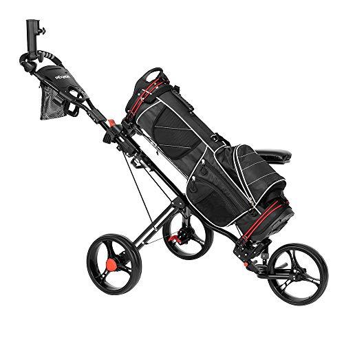 PEXMOR Golf Push Cart, 3 Wheel Folding Golf Trolley w/Seat, Foot Brake, Umbrella Holder, Cup Holder, Scoreboard Bag, Easy Push and Pull Golf Cart (Black)