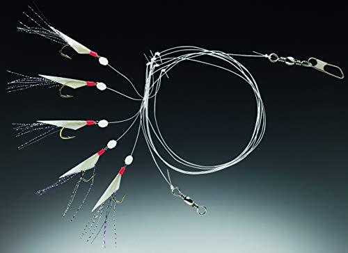 Balzer Spezial Heringssystem 1,50m 5 Haken Gr. 6 - Heringsvorfach zum Pilkangeln auf Heringe, Heringspaternoster, Heringsmontage