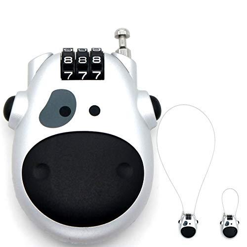 Cow - Candado de Viaje con Combinación reajustable, 3 Dígitos, para Maleta, archivadores, Maletas y Equipaje, con Cerradura para Gimnasio en la Escuela