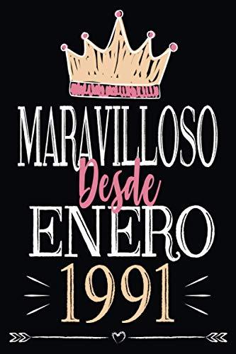 Maravilloso desde enero 1991: Regalo de cumpleaños de 30 años para mujeres hombre mama papa, regalo de cumpleaños para niñas tía novia niños, cuaderno de cumpleaños 30 años, 15.24x22.86 cm