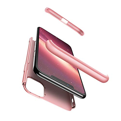 Homikon 360 Grad Hart PC Hülle + Panzerglas 3 in 1 Schutzhülle Plastik Handyhülle Vorder und Rückseiten Schale Ganzkörper-Koffer Fullbody Case Cover Kompatibel mit iPhone 11 Pro - Roségold