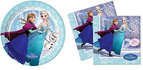 BWR Frozen - Paquete de 8 platos de papel y 20 servilletas de papel