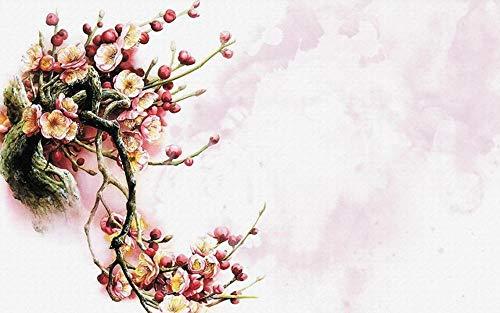 Papel Pintado Paredes Fotomurales Estilo Acuarela De Flor De Durazno Rosa Decorativos Pared Moderna 3d Salón Dormitorio Murales 352x250cm XXL