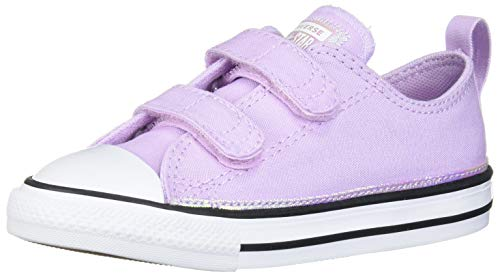 Converse Girls' Chuck Taylor All Star Velcro Low Top Sneaker, Lilac Mist/White/Black, 5 M US Toddler
