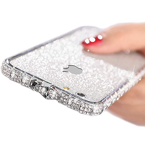 Vinilo adhesivo para iPhone 6s Plus brillante con purpurina y marco de metal para iPhone 6 Plus, funda protectora de cuerpo completo para niñas y mujeres (plata, iPhone 6s Plus)