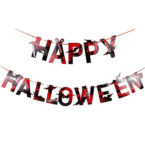 CTOBB Blutiger Buchstabe glückliches Halloween-Fahnen-Hammer-Schlüssel-Axt SAH Zerhacker-Spinnen-Girlanden-Scheren-Dolch-hängendes Dekor