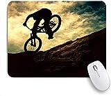Benutzerdefiniertes Büro Mauspad,Biker Extreme On Bike Sonnenuntergang Sport Sky Recreation Bike Mountain Cyclist Adventure Design,Anti-slip Rubber Base Gaming Mouse Pad Mat