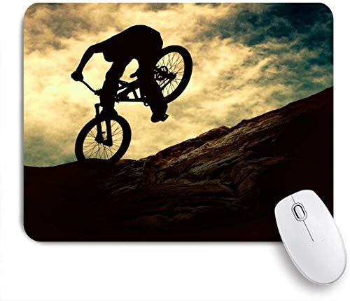 FAKAINU Alfombrilla de ratón,Biker Extreme On Bike Sunset Sport Sky Recreation Bike Mountain Cyclist Adventure Design,Goma Antideslizante Rectangular para Escritorio,portátil,Oficina,Trabajo