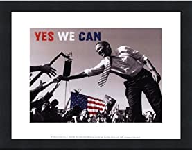 Poster Palooza Framed Barack Obama: Yes We Can (Crowd)- 14x11 Inches - Art Print (Classic Black Frame)