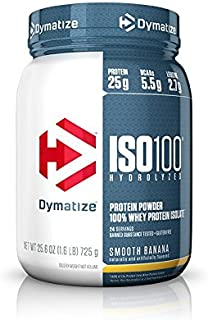 Dymatize ISO100 Hydrolyzed Protein Powder, 100% Whey Isolate Protein, 25g of Protein, 5.5g BCAAs, Gluten Free, Fast Absorbing, Easy Digesting, Smooth Banana, 1.6 Pound