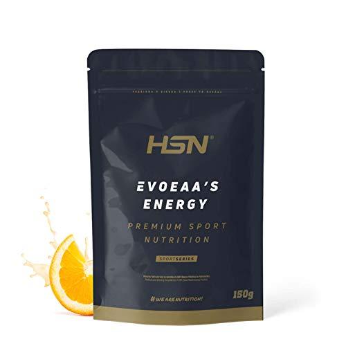 Aminoácidos Esenciales en Polvo de HSN | EvoEAAs Energy | Essential Amino Acids | Con Cafeína | Energía + Recuperador + Ganar Masa Muscular | Vegano, Sin Gluten, Sin Lactosa, Sabor Naranja, 150 gr