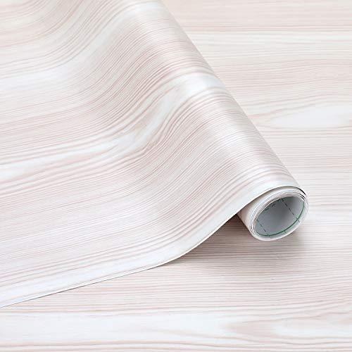 Selbstklebende Klebefolie Wasserdicht Möbelfolie 61 x 500 cm PVC Dekorfolie Holz Folie Möbelfolie Türfolie für Fensterbank, Wände, Möbel, Küche, Tür【Beige-Weiß】
