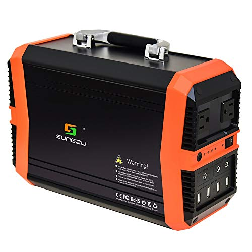 SUNGZU Portable Power Station 350Wh Solar Generator 93600mAh with 110V/2.73A AC 12V/8A DC 5V/3A USB Outlet for Outdoors Camping Fishing Emergency