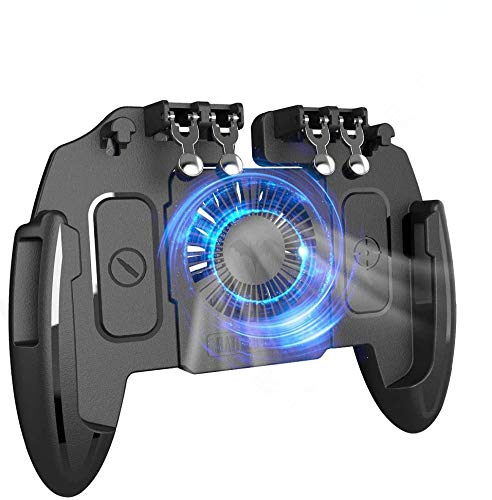 """[The Latest Version] Mobile Game Controller 4 Trigger with 4000mAh Power Bank Cooling Fan for PUBG/Call of Duty/Fotnite [6 Finger Operation] L1R1 L2R2 Gamepad Trigger for 4.7-6.5"""" iOS Android Phone"""