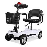 Gpzj Folding Mobility Scooter - 4 Wheel Electric Scooters for Adult, Portable Mobility Scooter for The Elderly, 300W 20AH Endurance 25 Km, White
